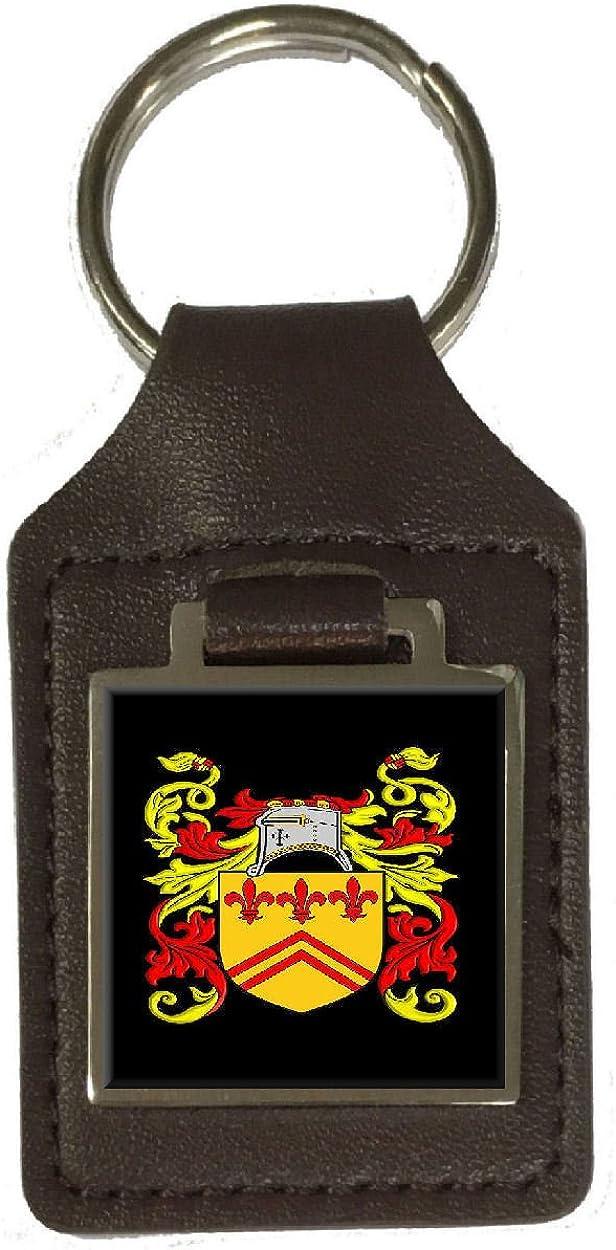 Barber Heraldry Surname Coat Of Arms Brown Leather Keyring Engraved