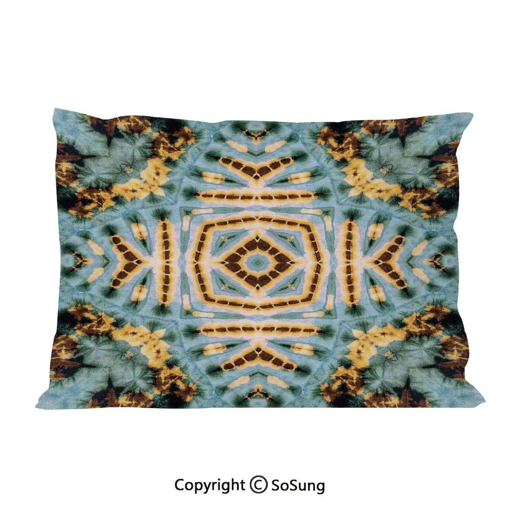 SoSung Tie Dye Decor Bed Pillow Case/Shams Set of 2,Close Hippie Motif with Maya Clan Figures Dirt Tones Counter Culture Print King Size Without Insert (2 Pack Pillowcase 36''x20''),Yellow Blue by SoSung