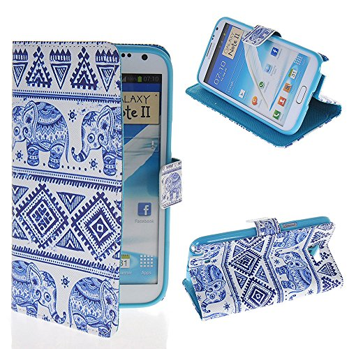 Note 2 Case, GETLAST [012] [Elephant] Beautiful Painting Wallet Flip Cover Folio Case for Samsung Galaxy Note 2 N7100