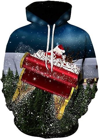 K-Youth Parejas Sudadera Hombre Capucha Navidad Chandal Hombre ...