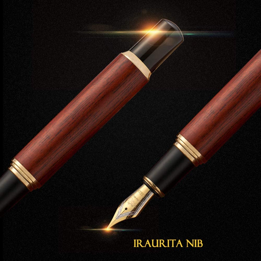 Handcrafted Rosewood Premium JinHao Fountain Pen with Elegant leather Box Pack Medium Nib 18KGP Executive Pen Perfect for Gifts