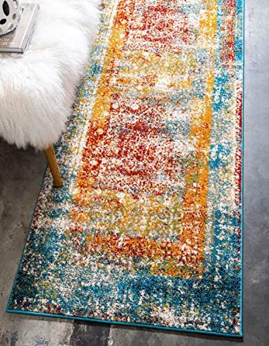 Unique Loom Rosso Collection Vintage Traditional Distressed Multi Runner Rug 2 7 x 10 0