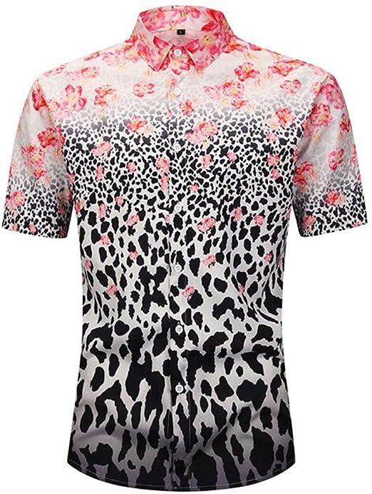 Camisa de manga corta para hombre de verano de gran tamaño M, L, XL, XXL Poliéster/Mezcla de fibra química Leopardo Estampado floral de leopardo: Amazon.es: Amazon.es