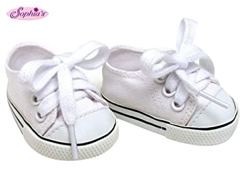 8bd8e8c449e9c White Doll Sneakers fit American Girl Dolls, 18 Inch Doll White Shoes in  Canvas