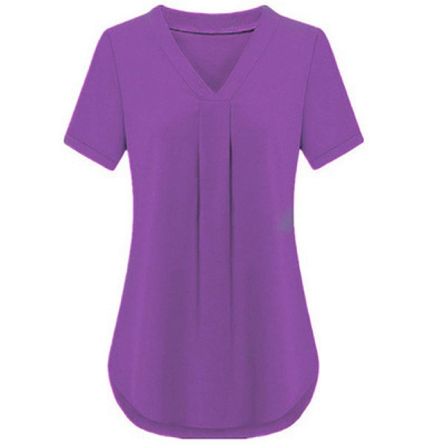 Women's Summer Short Sleeve V Neck Chiffon T Shirt Plus Size Casual Fashion Solid Loose Blouse Tunic Tops Purple