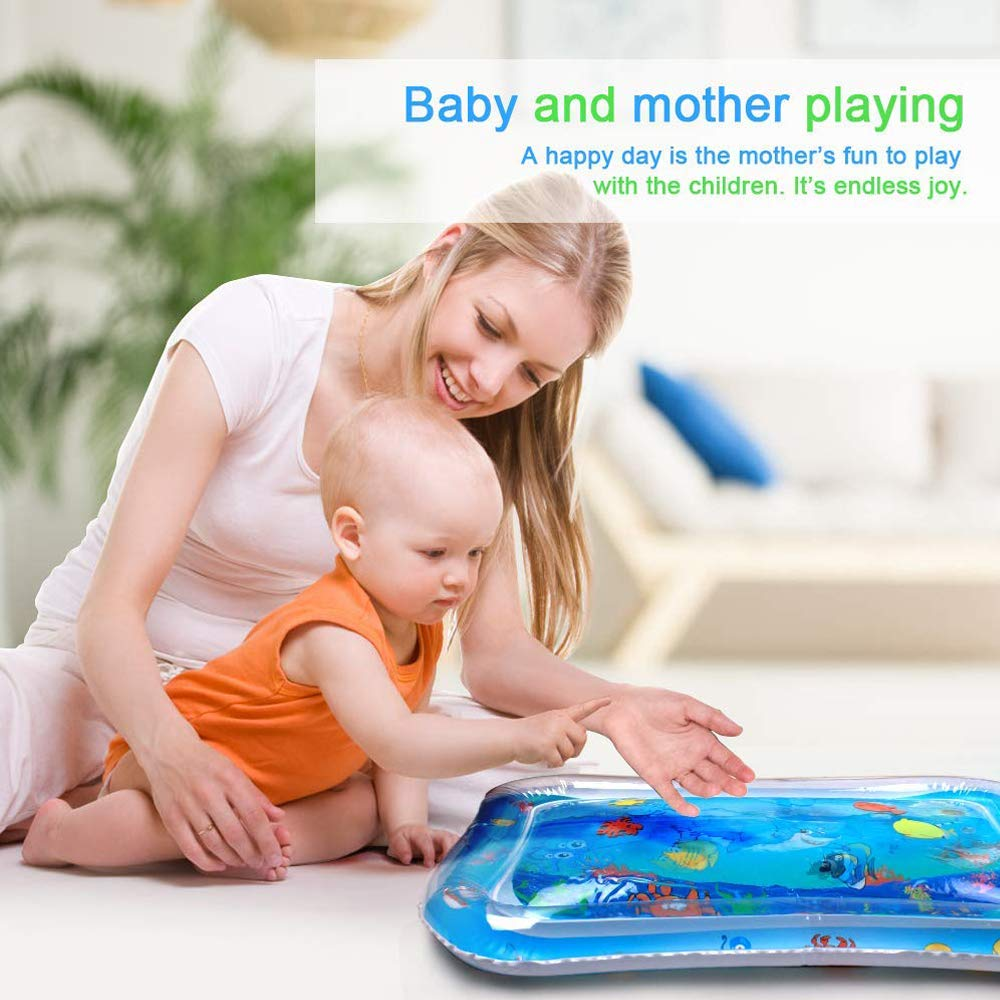 QIANGUANG Baby Inflatable Patted Pad Baby Water Play Mat Pad Tummy Time Toy Baby Water Cushion 26 X20