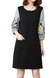 Luna et Margarita Petite Robe Noire Femme Droite Classique à Manche Longue Grande  Taille 7dd79f03dae2