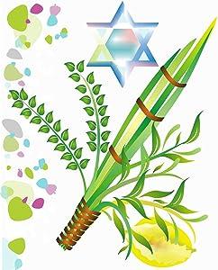 Eaiizer Poster Wall Art Print Jewish Holiday Sukkot Israel Mitzvah Myrtle Leaf Festival Etrog 18x24 Inches Artwork for Home Bedroom Decor