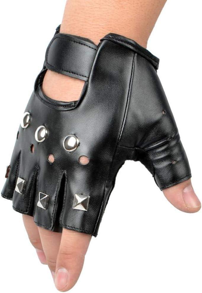 Ogquaton Retro Studded Fingerless Guante de Cuero Stud Fingerless Punk Gothic Performance Costume Gloves (Negro)