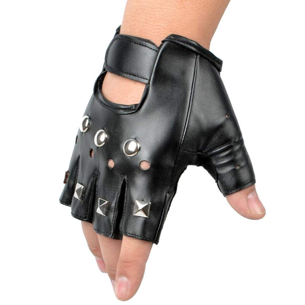 Guante de Cuero Stud Fingerless Punk Gothic Performance Costume Gloves