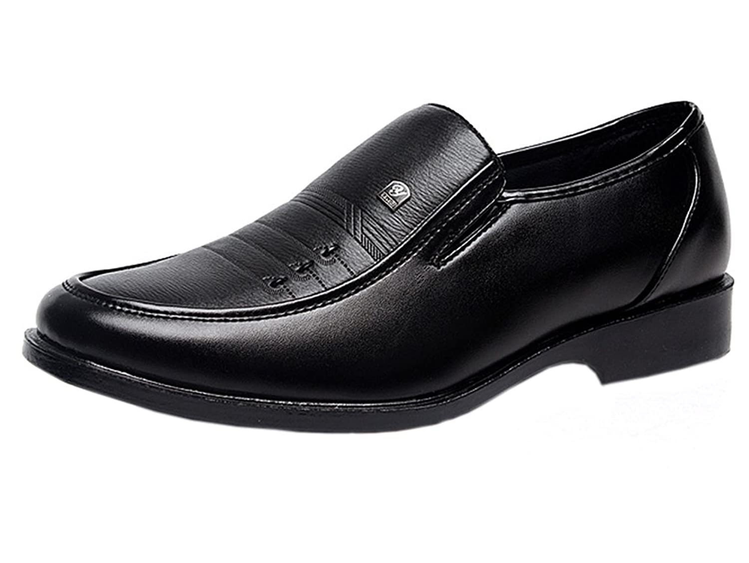 X-shoes Men's Spring PU Leather Classic Smooth Slip On Loafer Dress Shoe Black