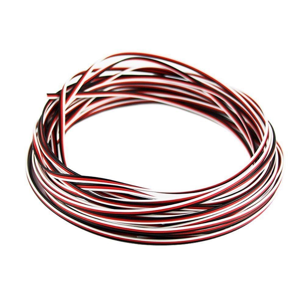 Cable alargador de servo rojo de 100 pies 22 Awg negro blanco para producto RC ZiQiang