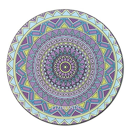 Mouse Pad (9.8 inch x 9.8 inch) ,Lizimandu Premium Quality Pattern Anti Slip Computer PC Round Mouse Mat Soft Comfort Feel Finish (Yellow Purple Compass) (Yellow Enamel Finish)