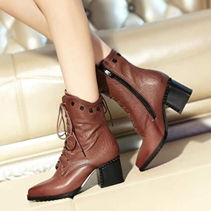 quality products great fit on wholesale Amazon.com: Hy Women's Booties, Leather Fall/Winter Thick ...