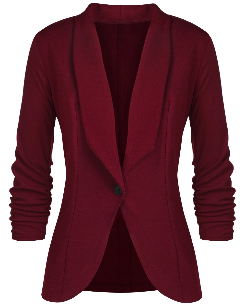 sanatty Women's 3/4 Ruched Sleeve Open Front Lightweight Work Office Blazer Jacket,Winered,Small by sanatty (Image #2)