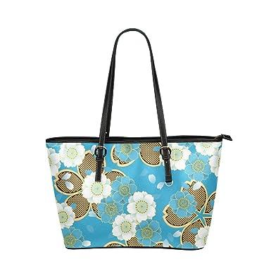 2b989c684eb3 Amazon.com  Interestprint Custom Shoulder Bag Blue Gold Japanese Floral  Kimono Leather Tote Bag Large  Shoes