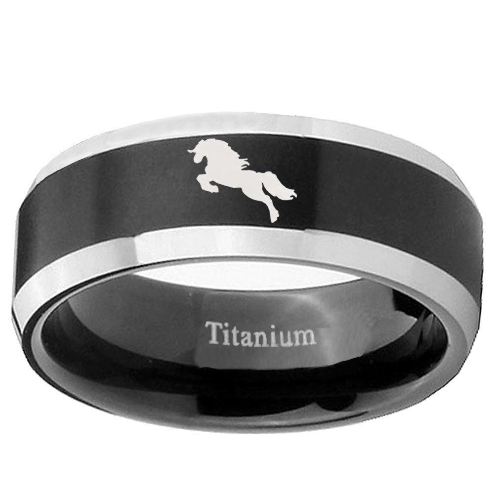 Size 4 to 13 Titanium Horse Design Black Beveled Engraved Ring 6MM, 8MM