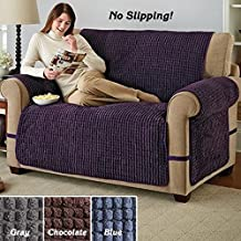 ULTIMATE FURNITURE PROTECTOR, BLUE PUFF CHENILLE SLIP COVER (CHAIR) (BLUE)