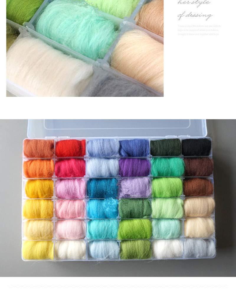 Diy Package - 36 Colors Box Wool Felt Fibre Needle Felting Hand Spinning Needlework Raw - Package Package Felt Doll Yarn Ktyz Wool Roving Fall Winter Merino Master Craft Daruma Basket Netbook Case