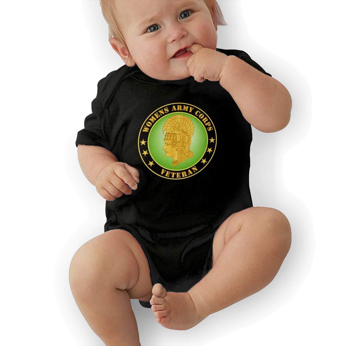 Manlee Army Corps Veteran Newborn Infant Toddler Baby Girls Boys Bodysuit Short Sleeve 0-24 MonthsBlack