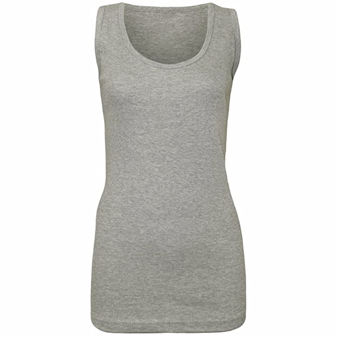 58ca2097a1661f MyShoeStore Pack of 2 Womens Cotton Plain Vests Ladies Summer Casual  Stretchy Ribbed Sleeveless Camisole T