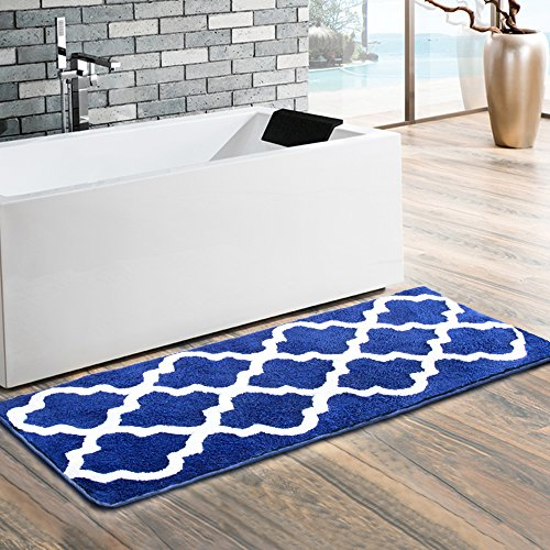 Moroccan Patten Extra Long Bathroom Rug, Uphome Microfiber Washable Non-slip Soft Absorbent Decorative Bath Mats Runner Floor Mat Carpet (18