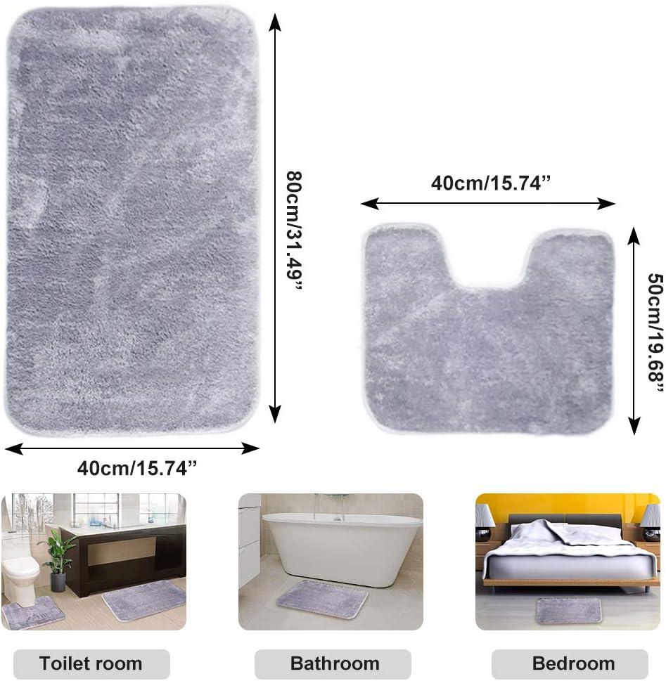 IYOYI Juego de 2 Alfombrillas de Ba/ño de Microfibra Suave Antideslizante con Alfombrilla de Ba/ño Absorbente de Agua en Forma de U Lavable a M/áquina Gris Plateado