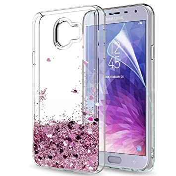LeYi Compatible with Funda Samsung Galaxy J4 2018 Silicona Purpurina Carcasa con HD Protectores de Pantalla,Transparente Cristal Bumper Telefono Gel ...