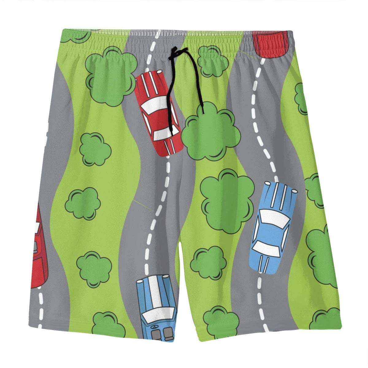 Mens Swim Trunks Green Patter with Cars Printed Beach Board Shorts with Pockets Cool Novelty Bathing Suits for Teen Boys