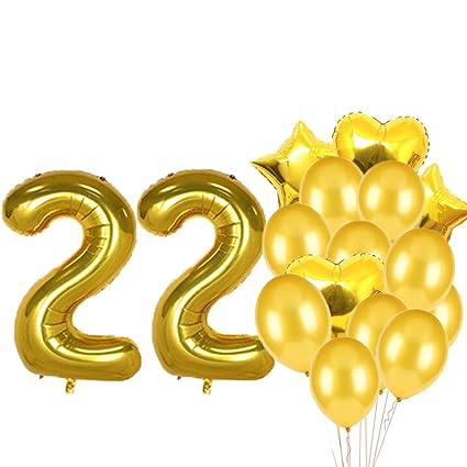 Globos de látex con diseño de número 22 para decoración de ...