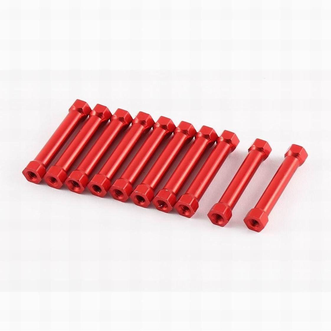 Ucland 10pcs M3 x 32 6mm Female Thread Red Hexagonal Aluminum Column