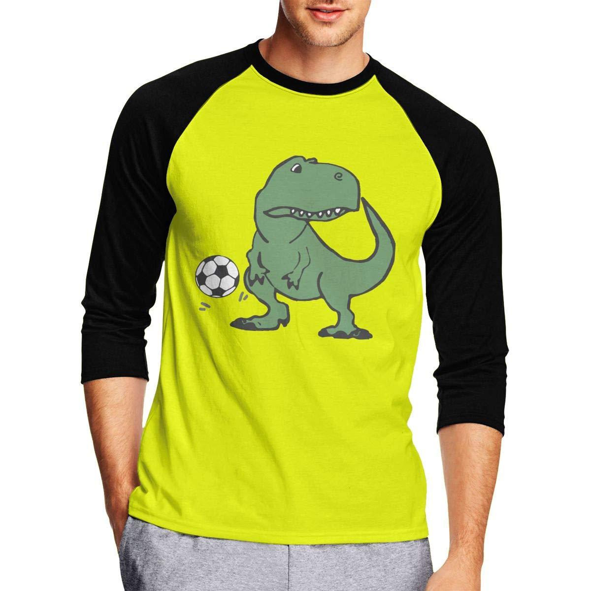 Cute T-rex Dinosaur Playing Soccer Mens Cool Adult Long Sleeve T Shirts