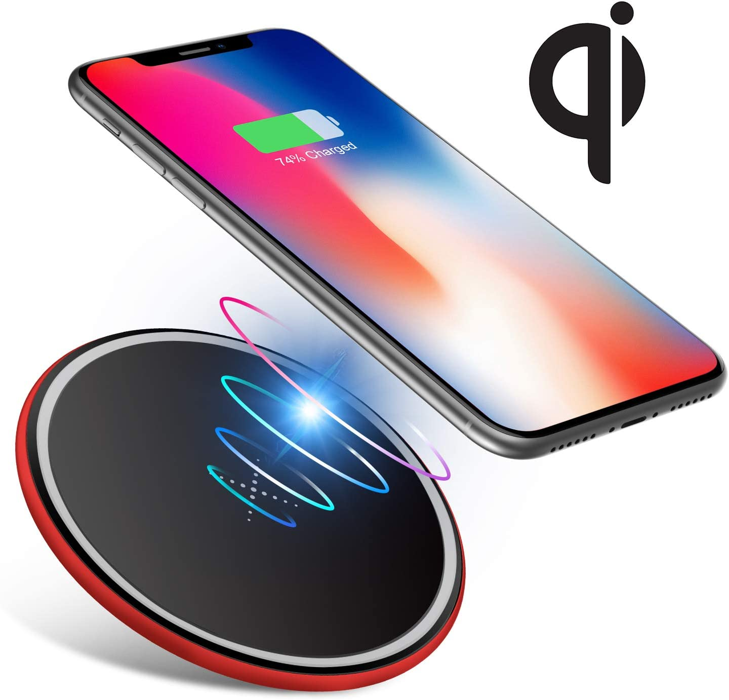 S8 Wireless Charging Pad for iPhone X//iPhone 8//8 Plus Ultra Slim Thin Qi Charger for Samsung Galaxy S9 Adapter Not Included - Red Wireless Charger S7/& All Qi-Enabled Devices