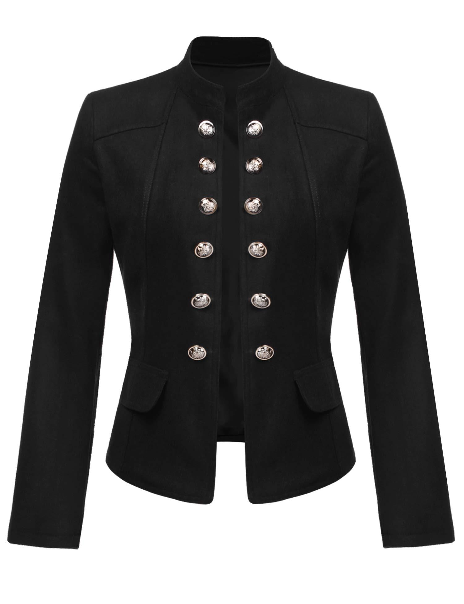 ELESOL Women's Vintage Button Front Open-Front Blazer Black M