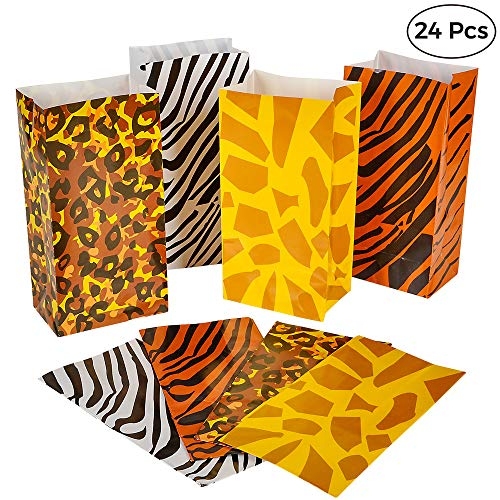 Party Favor Bags - (Pack of 24 Bulk) Safari, Zoo or Jungle Theme Party Supplies Decorations and Paper Animal Print Lunch, Candy & Goodie Gift Bags by Bedwina -