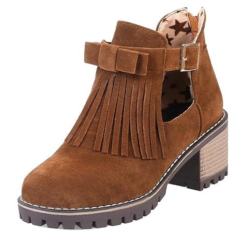 RAZAMAZA Botines de Tacon Ancho con Flecos para Mujer: Amazon.es: Zapatos y complementos