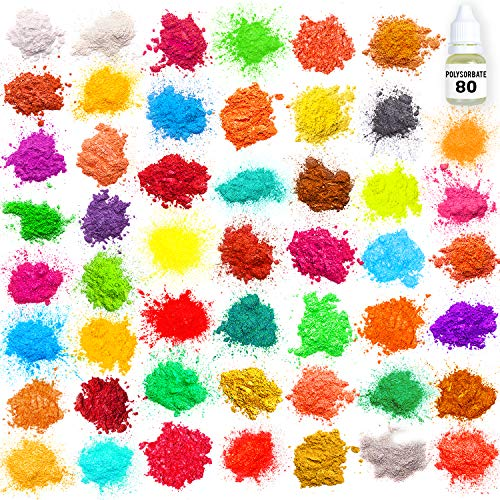 Mica Powder – Soap Making Kit – Powdered Pigments Set – Soap Making dye – 50 Coloring - Hand Soap Making Supplies - Resin Dye - Mica Powder Organic for Soap Molds