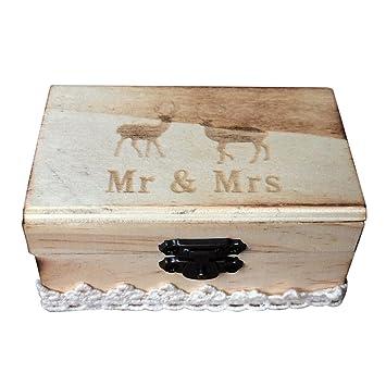 ultnice caja para anillos boda anillo Box de madera Estuche ...