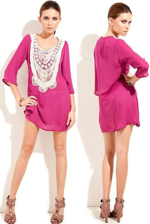 NICE BUY Damen Spitzen-Ausschnitt 3/4 Ärmel Beachwear Chiffon Strand-Hemd