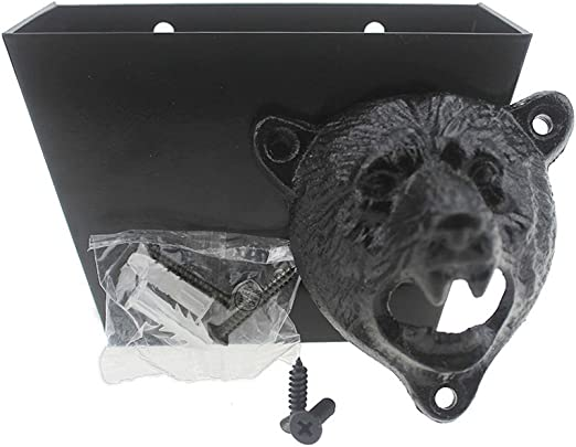 Wall Mount Grizzly Bear Bottle Opener Beer Soda Pop Bar Ware Home Man Cave Cabin