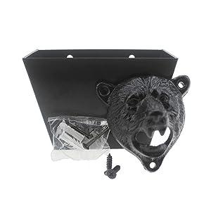DALANG INC. Cast Iron Bear Head Bottle Opener Wall Mounted Bottle Cap Catcher Set (Black Bear Teeth Opener)