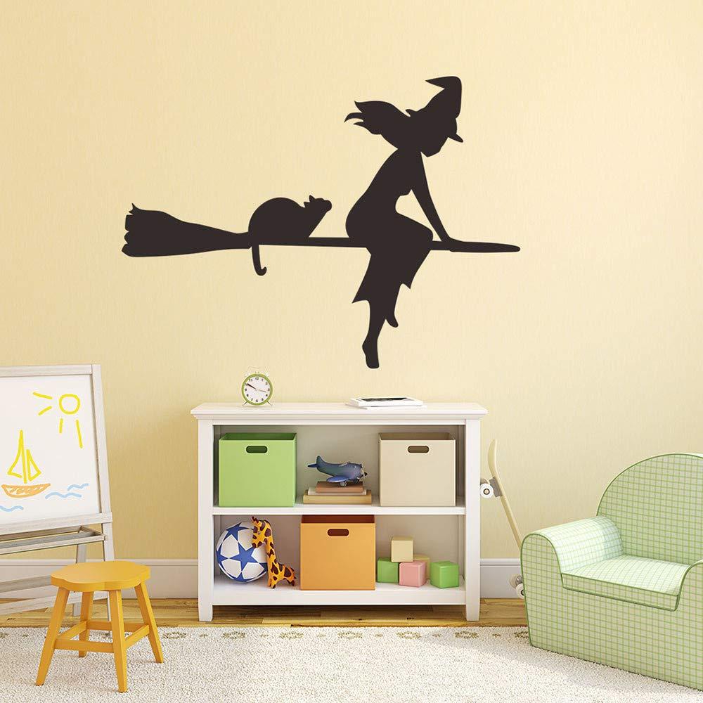 Halloween Wall Decal Sticker Ankola Witch Flying with Cat Halloween Wall Decal Sticker Art Décor (22.8'' X16.9'', Black) by Ankola (Image #3)