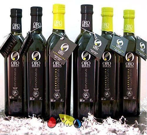 6 glass bottles 17-Ounce (3 picual + 3 arbequina) - Oro Bailén Family Reserve - Extra virgin olive oil By Oliva Oliva Internet SL by Oro Bailen