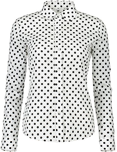 Dot Collar Shirt - KIMIST Women's Tops Feminine Long Sleeve Polka Dotted Button Down Casual Dress Blouses Shirts (Black White, Small)