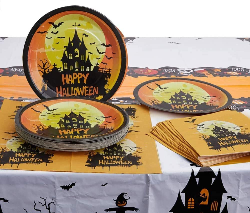 Disposable Dinnerware Set Serves 24 Guests–Halloween Party Plates