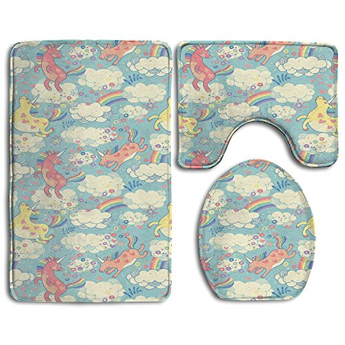 Guiping Rainbow Unicorns Flying In Sky With Clouds Children Cheerful Kids Room Nursery Decor Decorative Bathroom Rug Mats Set 3 Piece,Funny Bathroom Rugs Graphic Bathroom Sets,Anti-skid Toilet Mat Set by Guiping