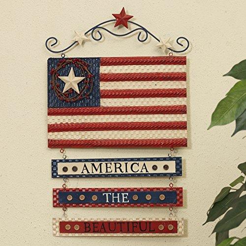 Patriotic Metal Flag America the Beautiful Wall Hanging Sign