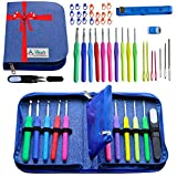 Crochet Hook Kit w/ 10 Crochet Hooks Set USA Standard Sizes D 3.25 MM - L 8 MM Ergonomic Handle - Accessories w/ Large Blunt Needles in a PREMIUM Needle Case Organizer - Perfect for Arthritic Hands