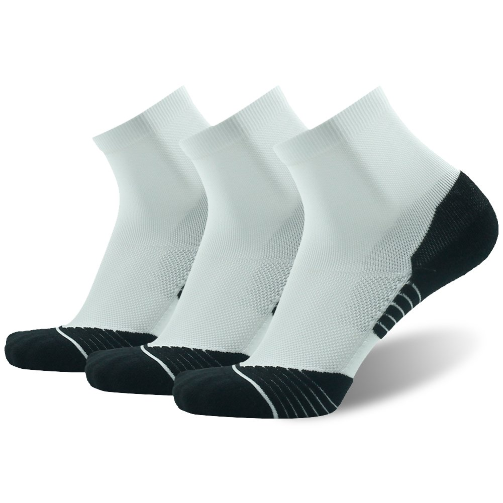 Tennis Ankle Socks HUSO Extra Cushion Reinforced Compression Support Running Low Cut Socks for Men College Students White 3 Pairs Pack