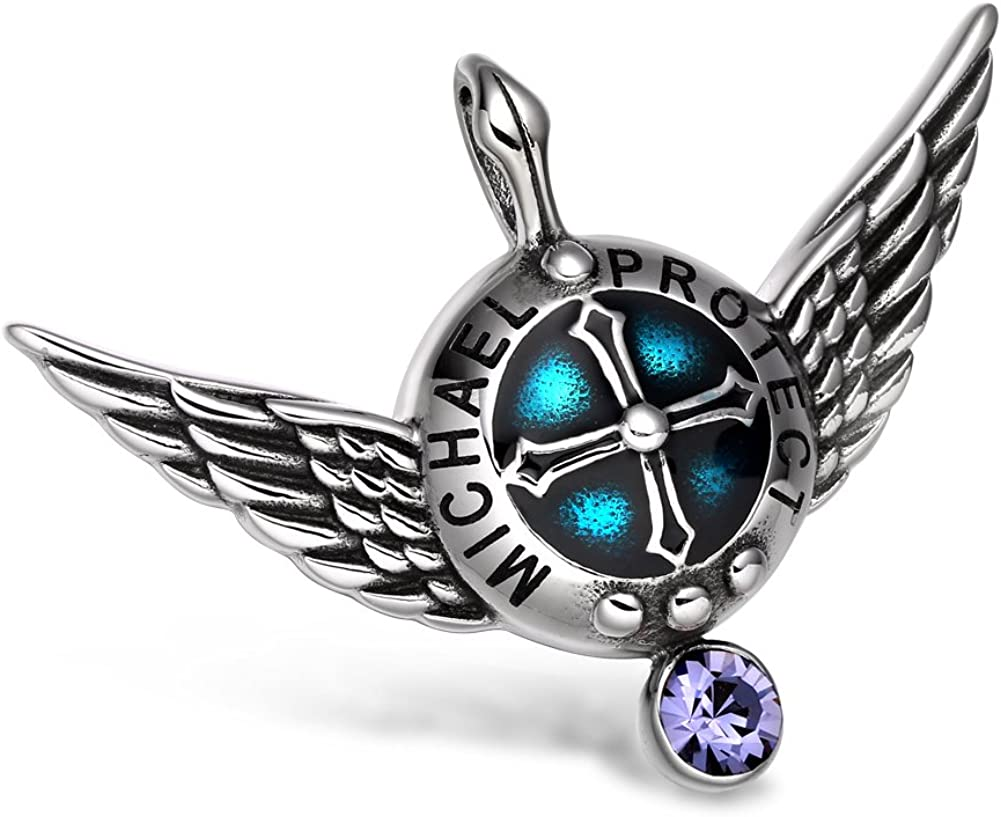 Angel Wings Archangel Michael Love Couples or Best Friends Set Charms White and Purple Pendant Necklaces